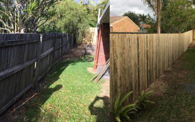Replacing a damaged dividing fence in Birkdale, Redlands